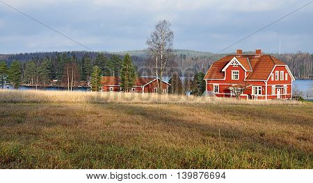 Romantic landscape in Sweden in the autumn, Scandinavia, Europe