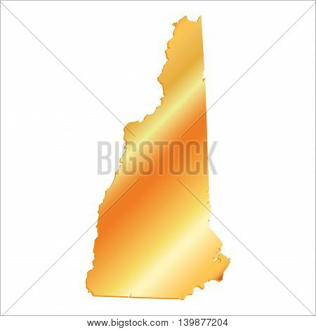 3D New Hampshire State USA Gold map