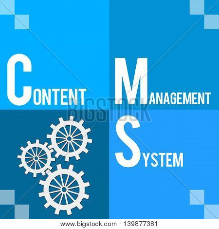 CMS - Content Management System text written over blue background.