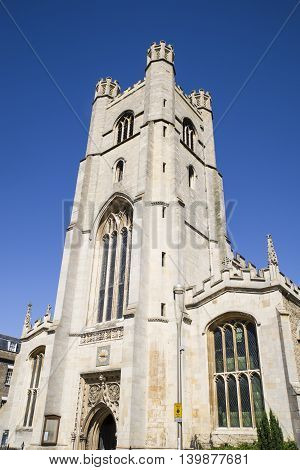 Looking up at the facade of the Church of St. Mary the Great in Cambridge UK.