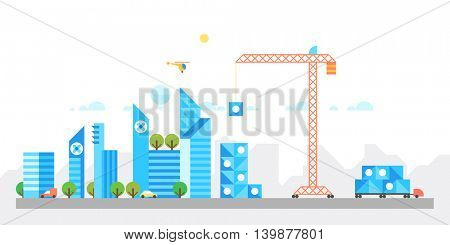 Construction of a modern city. Abstract background