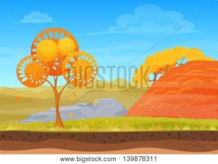 Cartoon nature autumn landscape in sun day with grass, trees, cloudy sky and mountains hills. Vector Colorful game style illustration. Background for games