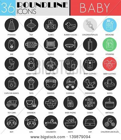 Vector Baby circle white black icon set. Modern line black icon design for web
