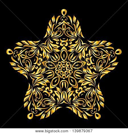 Vector gold element similar a star on black background