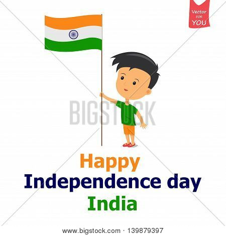 vector illustration of a boy holding Indian flag