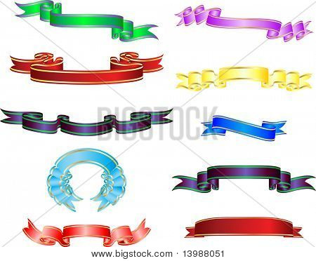 Set of different vector ribbons on white background