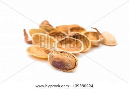 pistachios nutshell isolated on white background