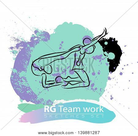 Vector artistic Rhythmic Gymnastic team sketch set. Hand drawn brush stroke paint drops, spot, sketching for graphic design, poster, banner, flayer, billboard, placard, card, competition. Ink style.
