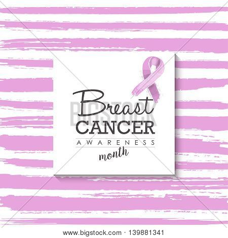 Breast Cancer Design With Typography And Ribbon