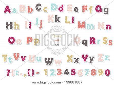Paper cut polka dot font. Colored. Trendy.