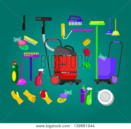 Poster design for cleaning service and supplies. Vector detailed kit icons