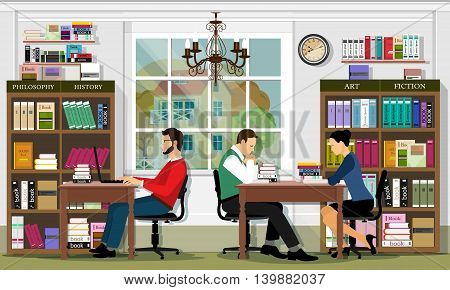 Stylish detailed graphic library interior with furniture and people. Reading area room. Men and women sitting on chairs.