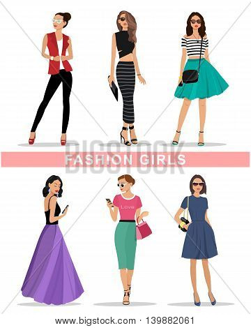 Beautiful graphic girls set. Fashion women's clothes. Colorful flat style vector illustration.