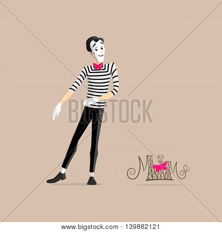 A Mime performing a pantomime called walking in place