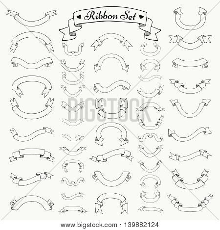 Set of Black Hand Drawn Outlined Ribbons and Banners. Doodle Sketched Rustic Decorative Ribbons Variation. Vintage Vector Illustration.