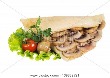Pancakes with mushrooms on a white background isolated