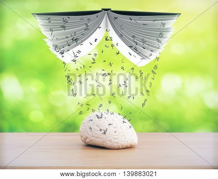 Education concept with information pouring out of book into brain on green background. 3D Rendering