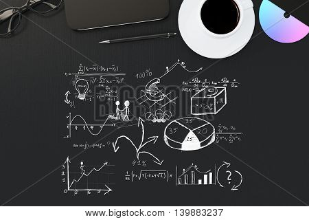 Top view of black desktop with business sketch coffee cup cd smartphone pen and glasses. 3D Rendering