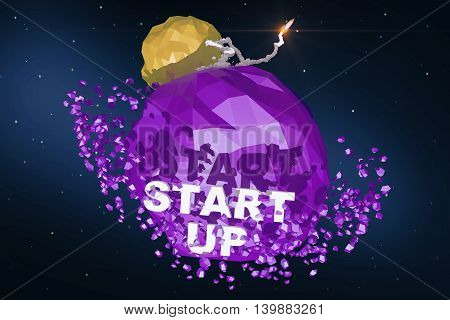 Rocket Launching From Purple Planet