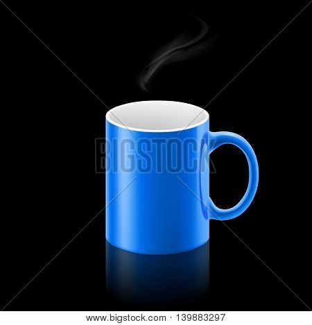 Blue office mug with a small stream of smoke above it on black background.
