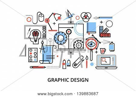 Modern flat thin line design vector illustration infographic concept of graphic design designer items and tools and design development process for graphic and web design