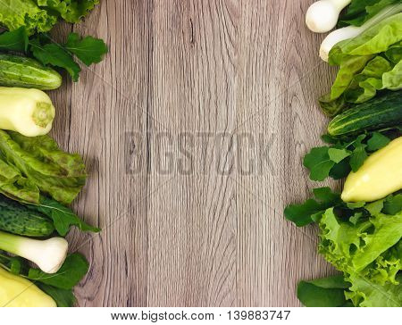Fresh Vegetables Colorful Frame On Wooden Background. Flat Lay