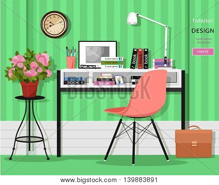 Cute graphic home office room interior with desk, chair, lamp, books, bag and flowers. Flat style vector illustration