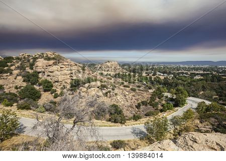 Smoke filled fire sky over the Stoney Point and the San Fernando Valley in Los Angeles, California,
