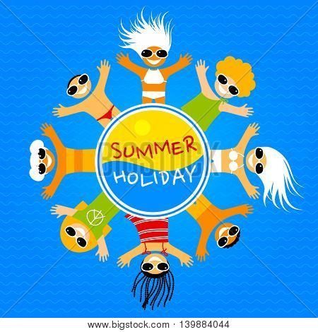 Summer holiday. Happy kids in bathing suits, sunglasses, swimming trunks sunbathing on the sea beach.. Vector illustration.
