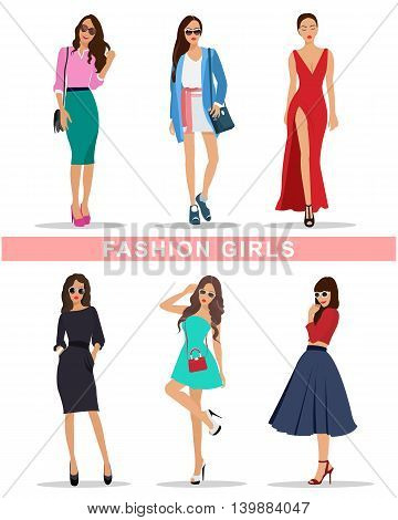 Stylish girls with accessories.  Fashion ladies clothes. Beautiful women set. Flat style vector illustration.
