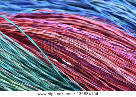 Colored cables and wires , close up