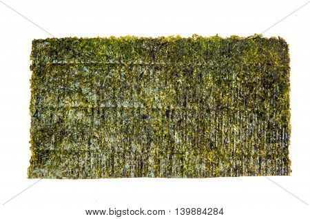 Nori sheet of edible seaweed species, isolated over white
