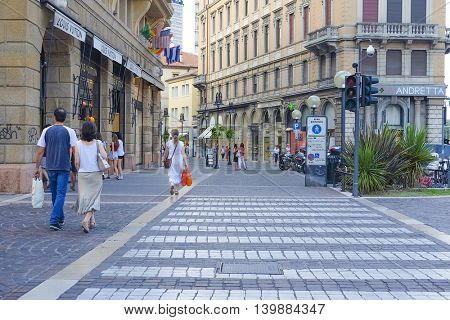 PADOVA, ITALY - JULY, 9, 2016: street in a historical center of Padova, Italy