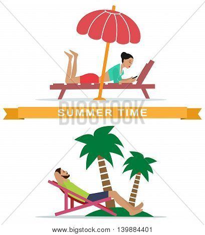 Set of young woman and man lying on sunbeds and relaxing. People resting on the beach. Flat style vector illustration.