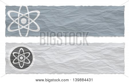 Two colored banners of crumpled paper and science symbol
