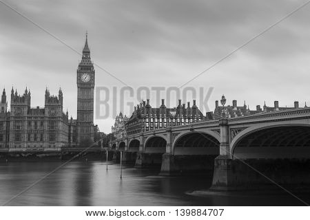 Big Ben and westminster bridge in London England. Black and white