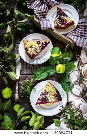 Slices Of Blueberry Pie On Dark Wooden Background.