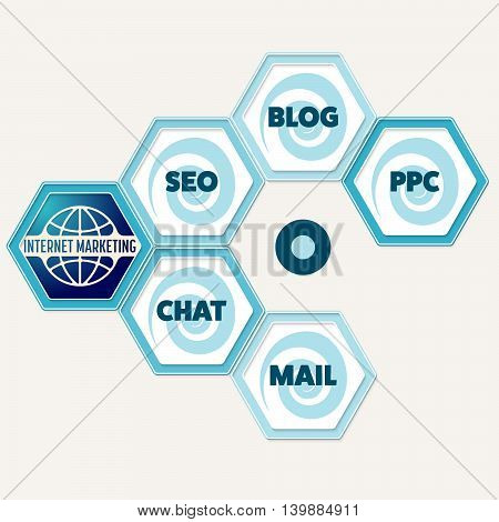 Vector hexagons for your text and the words internet marketing seo blog ppc chat mail