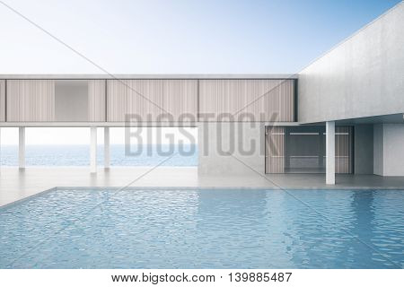 Concrete house exterior with swimming pool on bright blue sky background. 3D Rendering