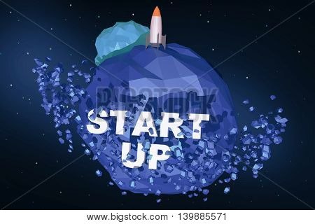 Polygonal rocket ship on abstract blue planet with text. Startup concept 3D Rendering