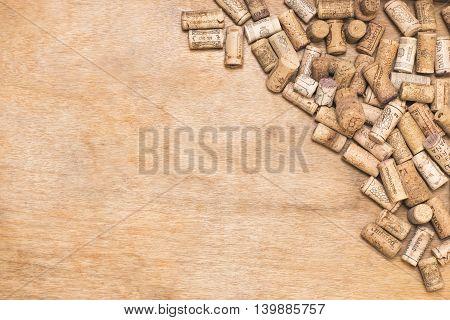 QUERETARO MEXICO - JULY 10th: Wine corks illustrative background.