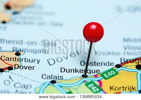 Dunkerque pinned on a map of France