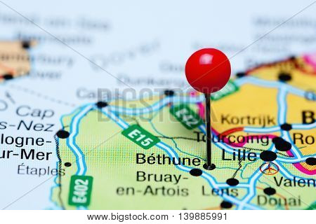 Bethune pinned on a map of France