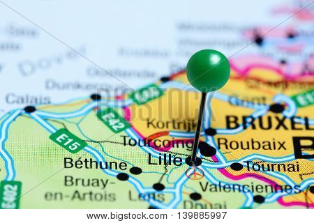 Lille pinned on a map of France