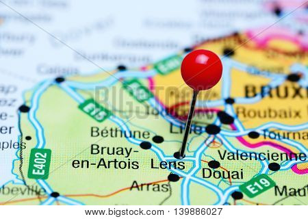 Lens pinned on a map of France