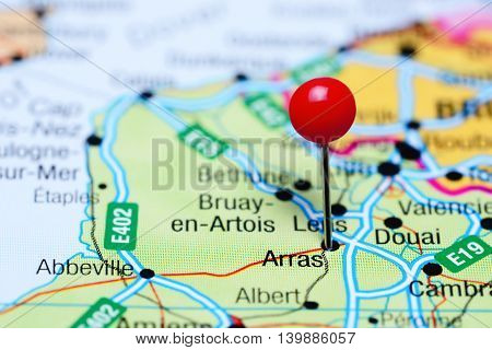 Arras pinned on a map of France