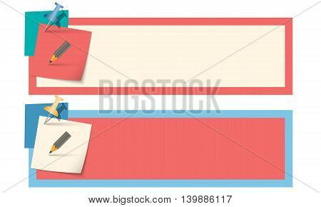 Two vector colored text boxes with pencil