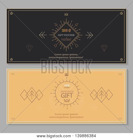 Gift certificate voucher coupon template with line art, Hipster design