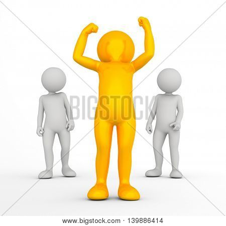 Winner of the competition concept. Golden toon man with raised hands in front of two grey men. 3d illustration