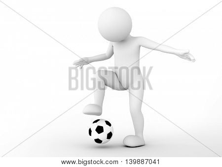 Toon man soccer player dribbling the ball. Football concept. White background. 3D illustration